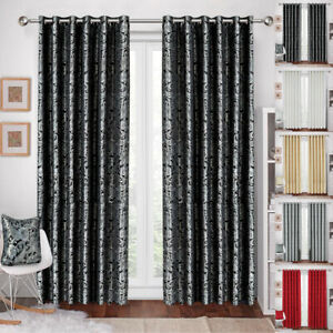 Heavy Jacquard Ringtop Curtains Fully Lined Ready Made Pair OR Cushion Cover