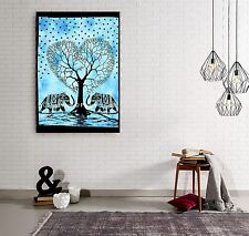 Indian Turquoise Heart Wall Decor Elephant Tree of Life Cotton Mat Table Runner