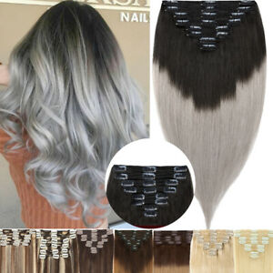 """110G+ Thick Double Weft Clip In Human Hair Extensions Real Remy Full Head 10-24"""""""