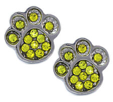 Doggy Dog Puppy Pet Bear Paw Animal Stud Post Earrings Yellow Crystal Jewelry