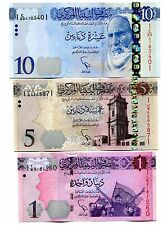 LIBYA 1 ND(2013) 5 10 DINARS ND(2015) P-NEW UNC SET OF 3