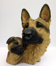 LIVING STONE GERMAN SHEPHERD AND PUP BUST, LARGE SIZE  ITEM #73104