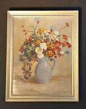 Ölgemälde signiert SCHLEGEL ( *1886 Wildbad ) Herrliches altes Blumenstillleben