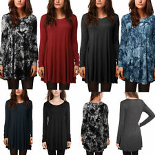 Rayon Long Sleeve Tunic Machine Washable Tops for Women