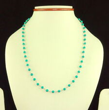 925 STERLING SILVER NATURAL GREEN TURQUOISE 4 MM ROUND BEADED GEMSTONE NECKLACE