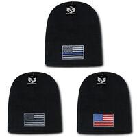 Patriotic Knit Beanies Acrylic Winter Short Cuff USA Flag Thin Blue Line Unisex