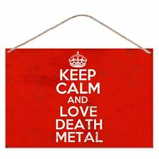 Keep Calm And Love Death Metal - Vintage Look Metal Large Plaque Sign 30x20cm