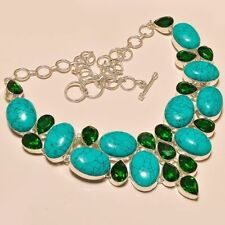BEAUTIFUL SANTA ROSA TURQUOISE & CHROME DIOPSIDE GEMSTONE 925 SILVER NECKLACE 18