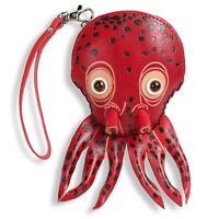 Octopus Zippered Coin Wristlet Purse Zippered Wallet Handmade Leather Gift, Red
