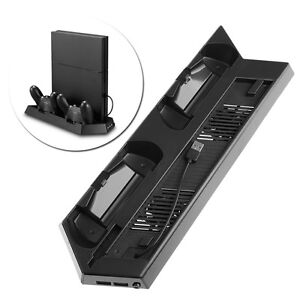 Vertical Stand Dual Charging Station and Cooling Fan for Sony PS4 and PS4 Slim