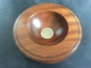 Handturned Eric Burton Winterton Woodpecker Crafts African Mahogony Bowl + Coin