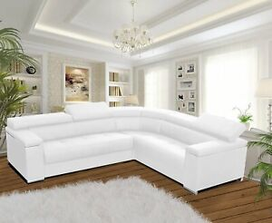 Modern Corner Sofa SILVA 1 White Faux Leather Storage Pull Out Bed LEFT or RIGHT