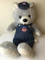 Union Pacific Stuffed Bear Coveralls Hat Logo Large Vintage