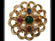 RARE VINTAGE CHANEL GOLD PLATED GRIPOIX GLASS BROOCH/ PENDANT