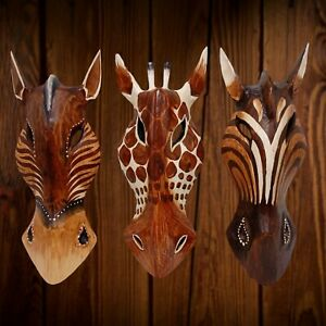 Animal Wooden Mask Mixed Giraffe Horse Hand Carved Wall Hanging 10 inch Set 02