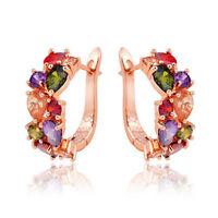Elegant Lady 18k Rose White Gold Filled Crystal Zircon Hoop Earrings