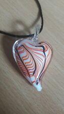 ONE handmade art glass beaded pendant necklace HEART in orange