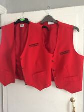Two Red Walthamstow Stadium Workers Waistcoats Size M