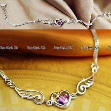 Amethyst Heart Angel Wings Silver Bracelet Gift for Her Women Daughter Wife J413