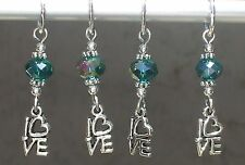 LOVE TO KNIT? SILVER LOVE HEART w TEAL AB CRYSTAL KNITTING STITCH MARKER SET