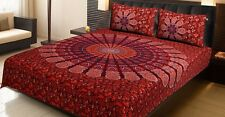 Mandala Printed Handmade QUEEN Size Bed Sheet Bed Spread With Two Pillow Cover
