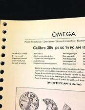 Vintage Omega Spare Parts Guide c. 1957 lists all Omega watch 284 caliber parts