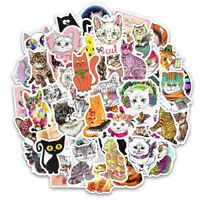 50Pcs/lot Cute Cat Kitten Sticker For Computer Pad Laptop Skateboard Luggage New