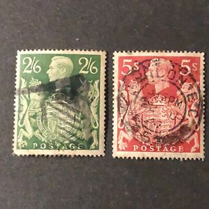 GREAT BRITAIN, SCOTT # 249A/250(2), 2sh6p+5/- VALUES 1939-42 KGVI  ISSUE USED