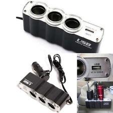 New listing 1 Usb Charger Supply and 3 Socket Car Cigarette Lighter Extender Splitter bk