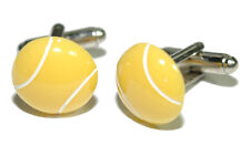 "5/8"" YELLOW RESIN TENNIS BALL CUFF LINKS (141a)"