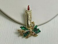 Vintage Brooch Pin Christmas Candle Gold Tone Holly Leaf Red Green Enamel Retro