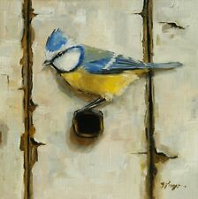 Original Oil painting - hand painted wildlife bird art - blue tit  - by j payne