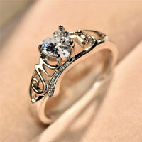 Fashion Diamond 925 Silver Mom Party Wedding Engagement Woman Ring Size 6-10 New