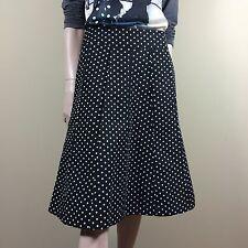 DKNY Damen Rock Gr L 40 Schwarz Gepunktet Schwingend Polka Dots Designer Style