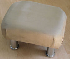 Superb new light brown faux suede small footstool chrome metal legs foot stool