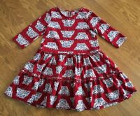 Tea Collection Girls Tiered Dress sz 6, red ruffled butterfly EUC!!