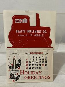 1992-93 Case IH Beatty Implement Co Auburn Illinois Holiday Give Away Calendar