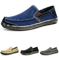 Mens Canvas Pumps Slip on Loafers Shoes Driving Moccasins Breathable Flats New B