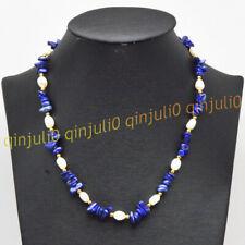 Natural Blue Lapis Lazuli Gravel Gems&7-8mm White Baroque Pearl Necklace 16-56''