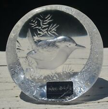 MATS JONASSON 9203 BIRD Crystal Art Glass Paperweight Wren NO FLAWS ~ VINTAGE