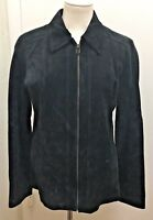 LIZ CLAIBORNE Woman's Black Genuine Suede Leather Full Zip Jacket Coat Size 10