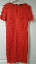 Warehouse Orange Lace fitted DRESS Size 12 3/4 sleeves waist detail wedding