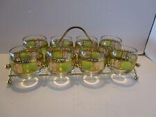 Mid-Century Culver Glass Prado 8 Roly Poly w/ Atomic Metal Holder 14 Oz Vintage