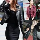 2016 Womens Sexy Winter Slim Biker Motorcycle PU Soft Leather Jacket Zipper Coat