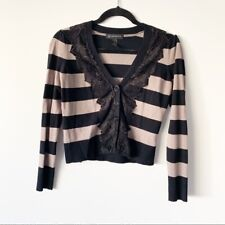 Women's INC Petite Striped Lace Long Sleeve Button Top Size Small