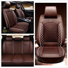 Universal 5D Surround Coffee Leather Full Set Seat Cover Cushions For 5-Seat Car