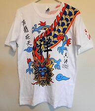 vtg Hong Kong Dragon T Shirt 80s tourist tee Chinese art all over retro M/L rare