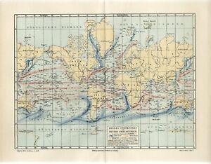 1895 WORLD OCEAN SEA MARINE CURRENTS DEEP SEA Antique Map