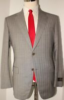 Belvest Gray Striped Super 150s Wool Side Vented Suit 40 R 34 Flat Front
