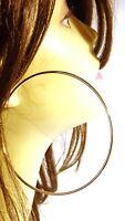 LARGE HOOP EARRINGS 3.5 INCH HOOP SIMPLE THIN HOOP EARRINGS GOLD OR SILVER TONE